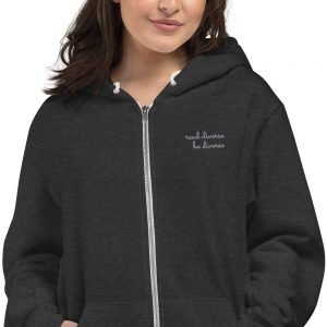 Unisex Read Diverse Embroidered Zip Hoodie