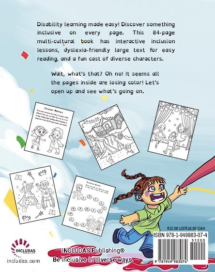 back side of includas coloring book.