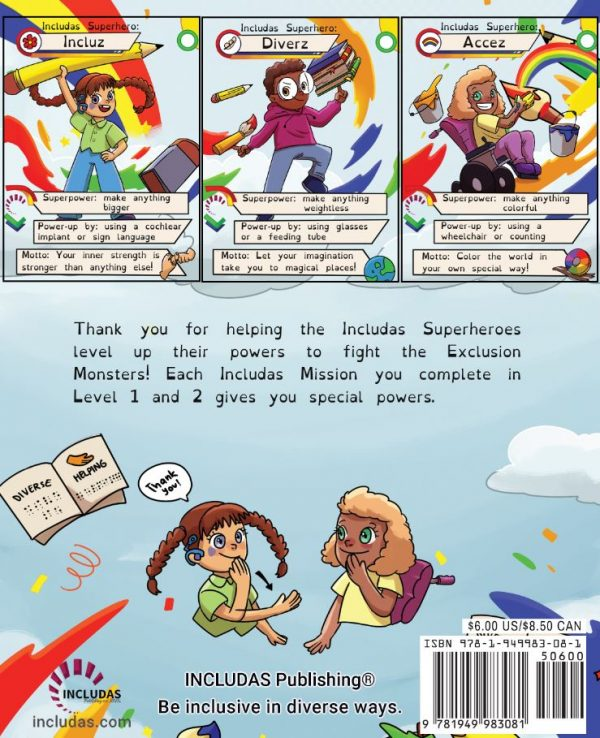 back cover of includas superpowerful journal.